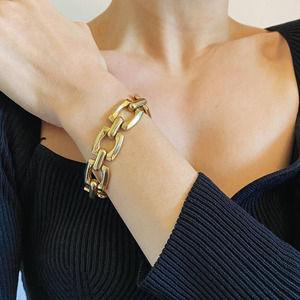 VTG Gold Square Chunky Chain Bracelet